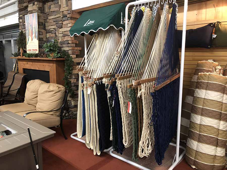 Huge selection of hammocks at Helm of Sun Valley