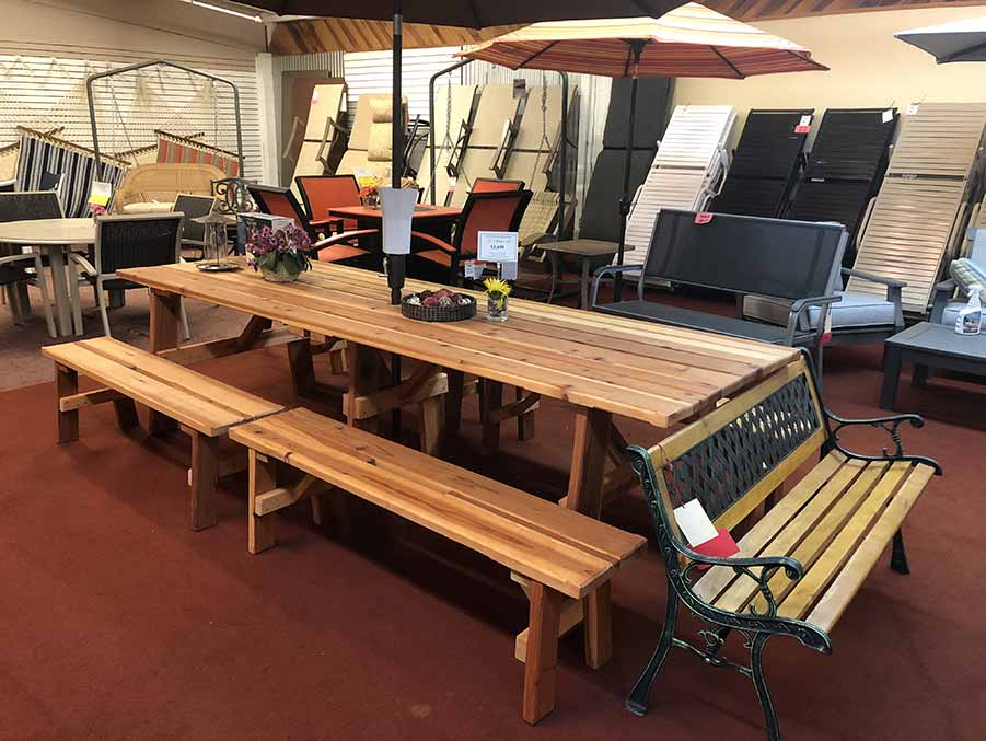 Custom made Redwood Picnic Tables at Helm of Sun Valley