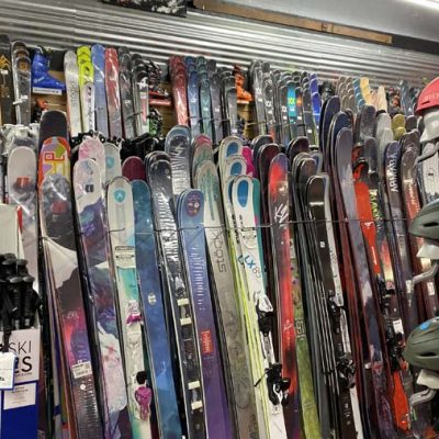 Skis, helmets, poles and goggles