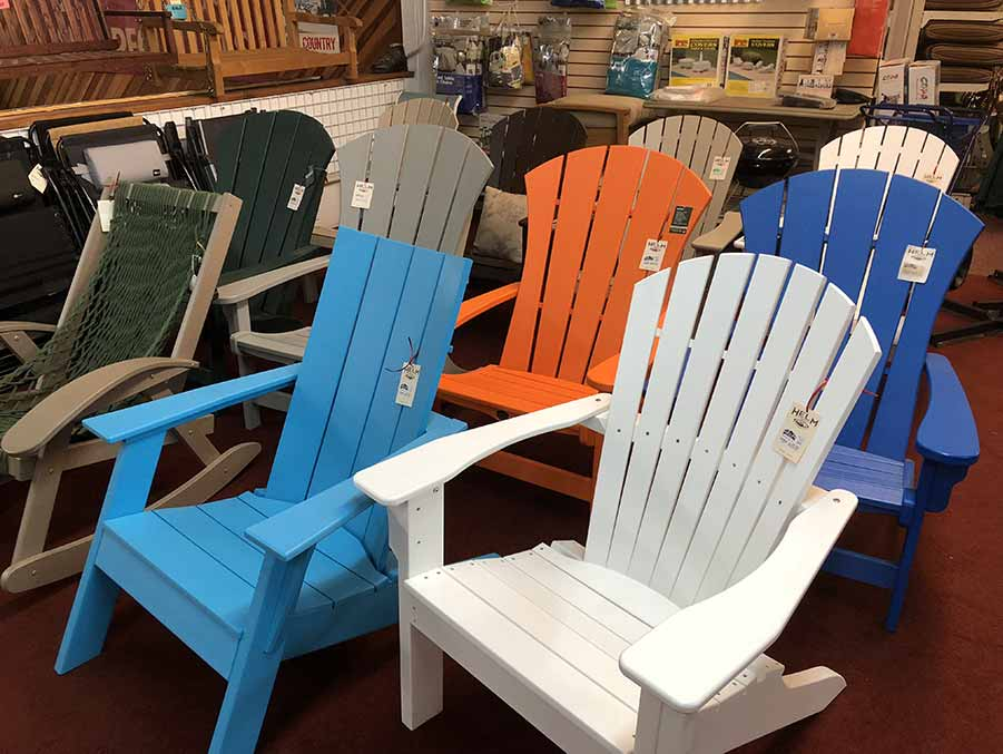 Adirondack chairs at Helm of Sun Valley in San Jose and Capitola