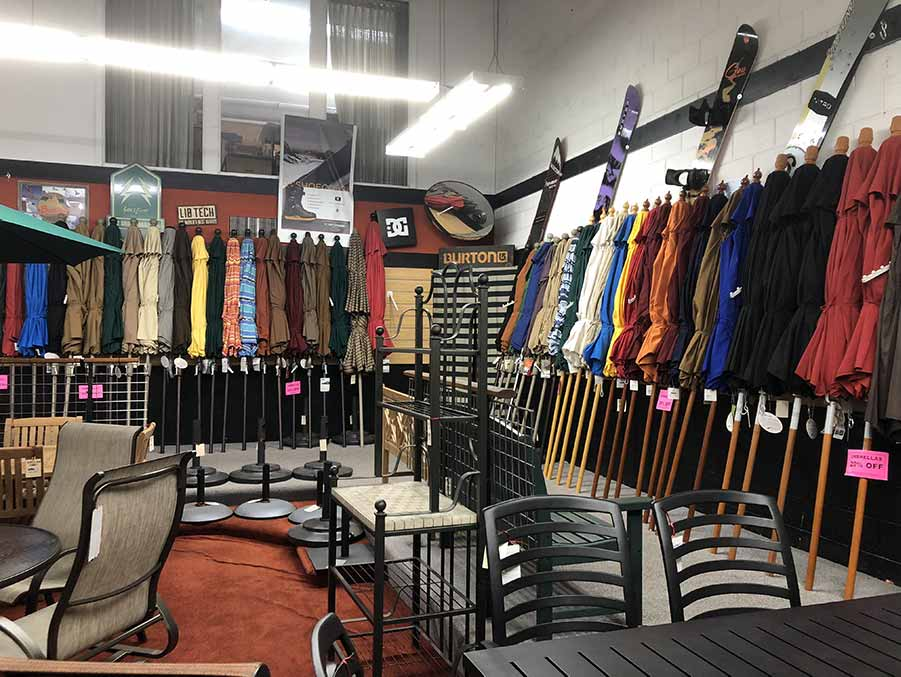 Huge selection of Patio Umbrellas at Helm of Sun Valley
